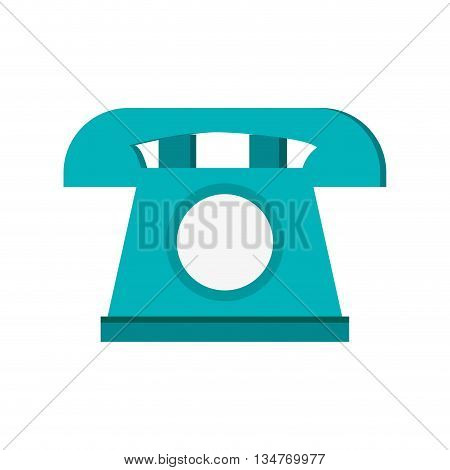 blue telephone with white circle in the center vector illustration isolated over white