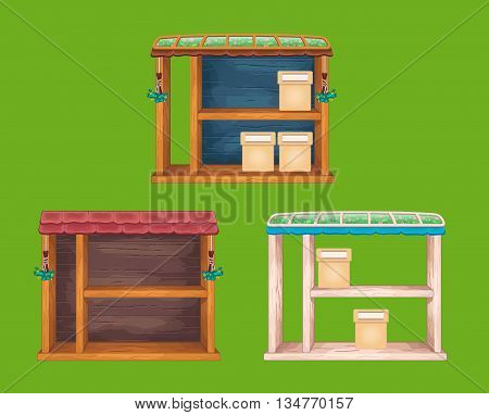 Game wooden store windows set  with tile and glass roof