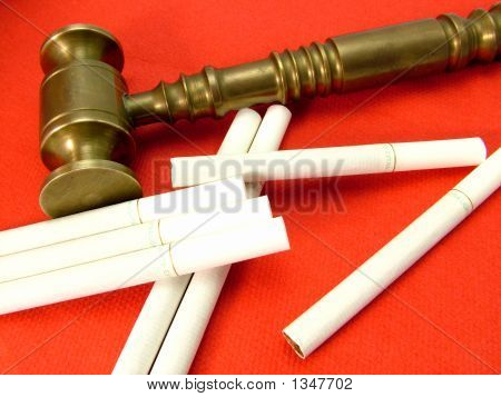 Smoking Litigation Gavel And Cigarettes