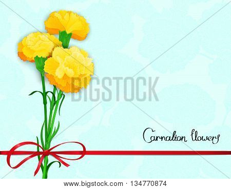 Floral postcard design with three yellow flowers of carnations and silk ribbon with a bow. Vector illustration