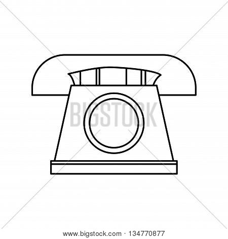 simple black line telephone with circle in the center vector illustration isolated over white