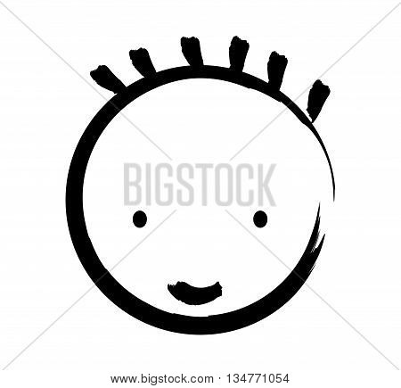 face boy  drawn  isolated icon design, vector illustration  graphic
