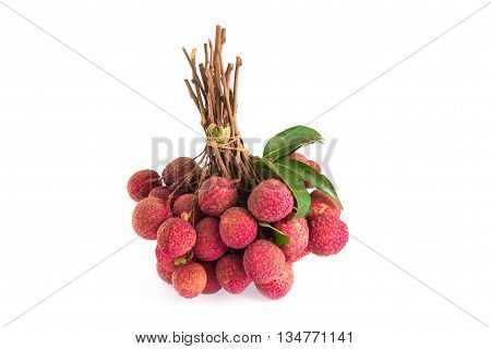 fresh lychees isolated on a  white background