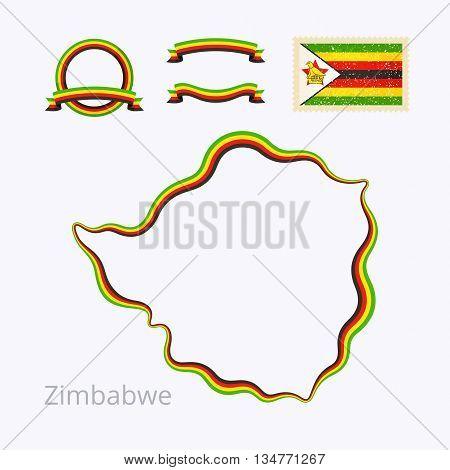 Outline map of Zimbabwe. Border is marked with ribbon in national colors. The package contains frames in national colors and stamp with flag.