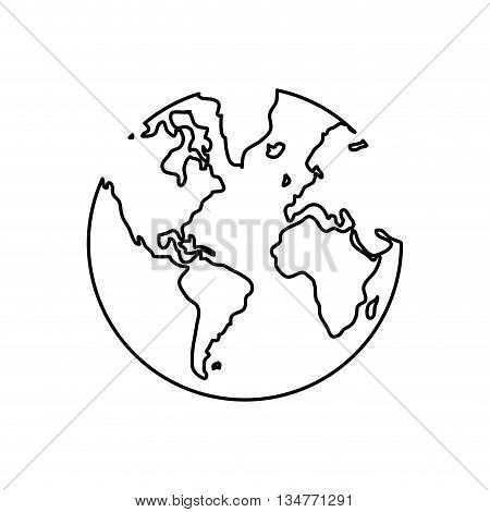 simple black line earth globe with water land distinction vector illustration isolated over white