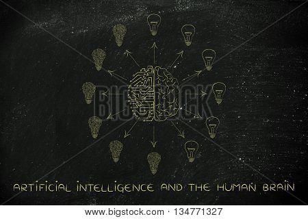 Circuits & Brain Merged And Creating Different Idea Lightbulbs