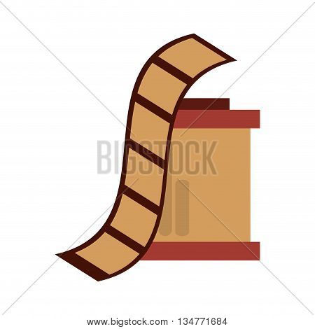 brown film roll and case vector illustration isolated over white