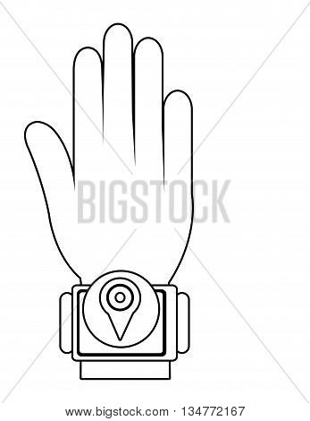 cartoon human hand wearing square watch with circle on the screen and location  icon over isolated background, vector illustration