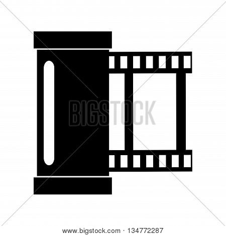 simple black photographic film roll vector illustration isolated over white