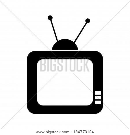 black television with buttons and antenna vector illustration isolated over white