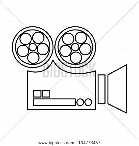 simple black line film projector sideview vector illustration isolated over white