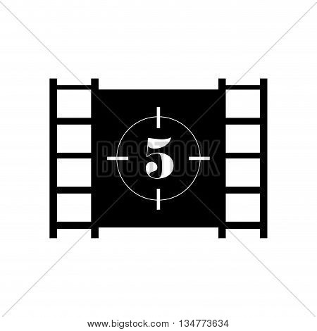 black film roll with number 5 in the center vector illustration isolated over white