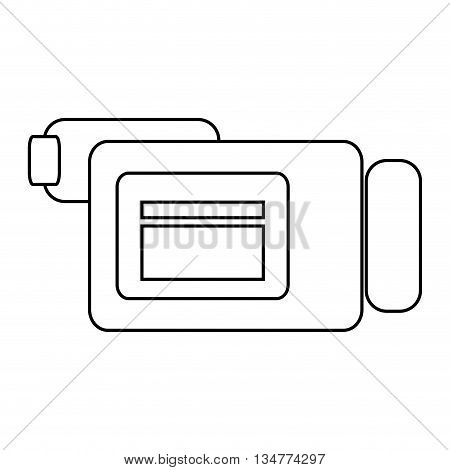 simple black line videocamera sideview vector illustration isolated over white