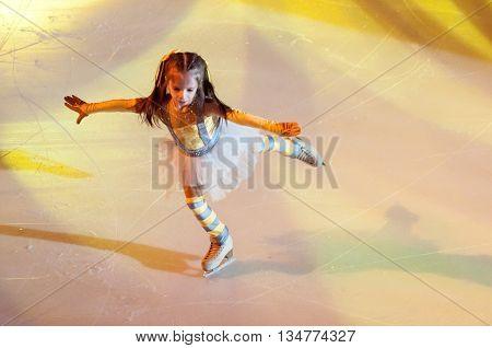 Orenburg, Russia - 26.03.2016: Children Skater