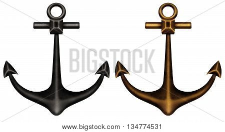 Black and bronze isolated anchors on white background
