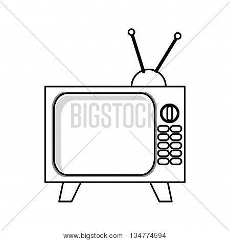 simple black line television with buttons and antenna vector illustration isolated over white