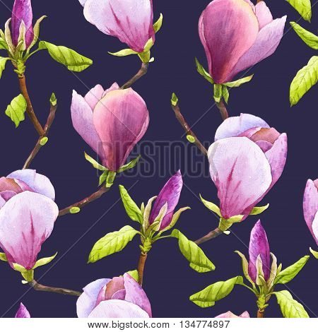 Floral purple pattern with watercolor realistic flowers on dark purple background for your design and decor.