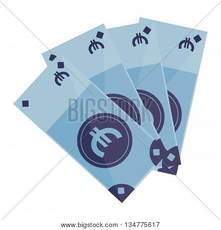 4 blue euro bills with cash euro sign in the center vector illustration isolated over white