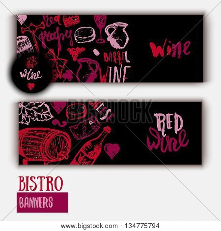 Wine list Template banner with hand drawn illustration and lettering. Wine signs - bottle, glass, grape, grape leaf, cheese