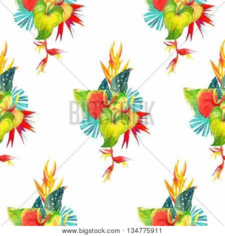 Beautiful pattern with begonia leaves anthurium and strelitzia on white background. Summer pattern.