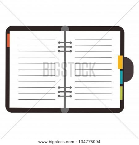 open personal binder diary with colored paper tags on the sides vector illustration isolated over white