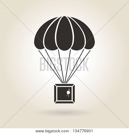 parachute with the parcel icon on a light background
