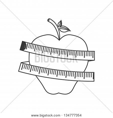 Healthy lifestyle concept represented by apple with meter   illustration, flat and isolated design