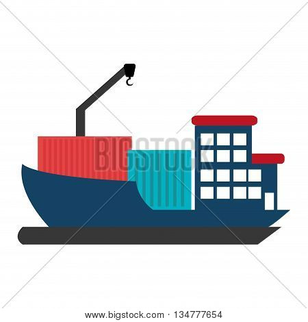 blue  cargo ship with blue adn red container over isolated background, vector illustration