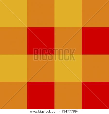 Seamless gingham pattern background - orange and red squares