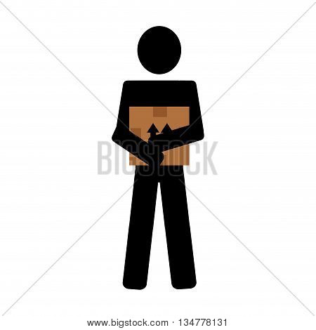 black avatar man icon holding brown box with arrows over isoalted background, vector illustration