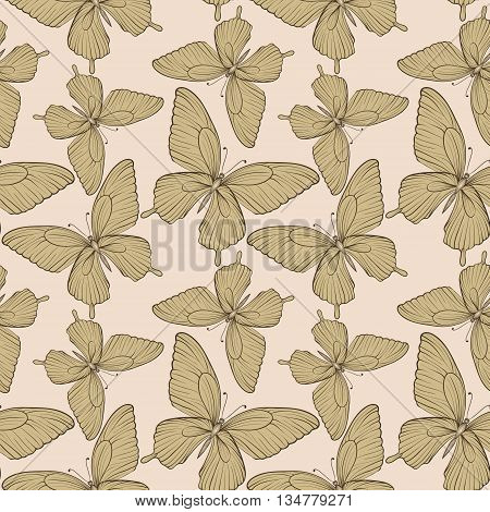 Beautiful seamless background with butterflies vintage color. Hand-drawn contour lines and strokes. Perfect for background greeting cards and invitations to the day of the wedding birthday