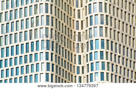 Facade of a modern skyscraper seen in Berlin, Germany