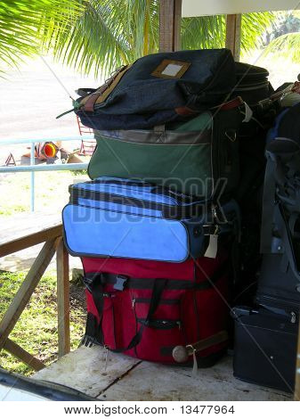 Luggage In Cart At Airport With Palm Trees Corn Island Nicaragua