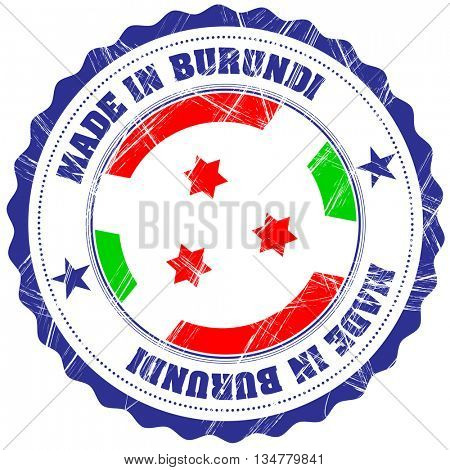 Made in Burundi grunge rubber stamp with flag