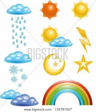 Set of Badges and icons in vector weather events. Internet site icons in the weather
