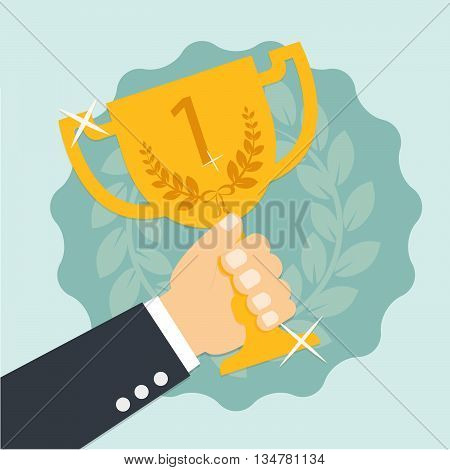 Vector Hands holding golden bowl reward. success concept