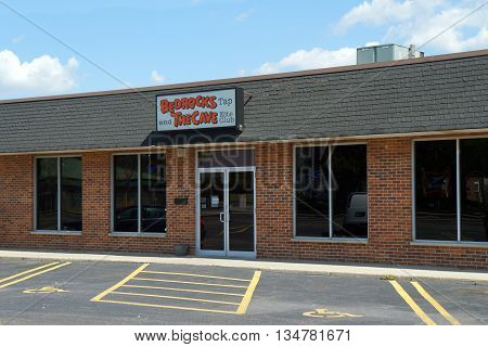 SHOREWOOD, ILLINOIS / UNITED STATES - AUGUST 21, 2015: Bedrocks Tap and The Cave Nite Club offer food, alcoholic beverages, and entertainment in a Shorewood strip mall.