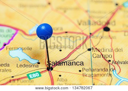 Salamanca pinned on a map of Spain