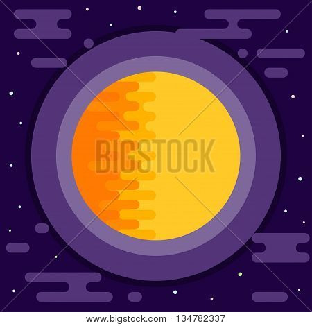 Cosmic background. Bright abstract sun in open space.