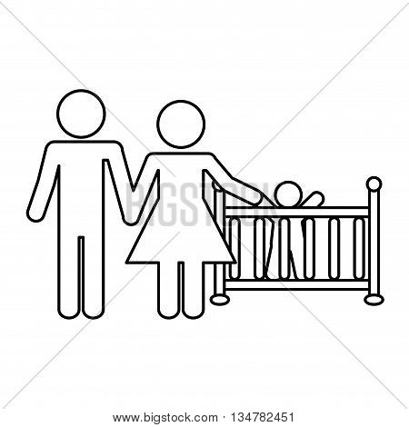 Pictogram of Family design about  baby and couple  illustration, flat and isolted design