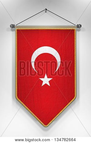 Pennant with Turkish flag. 3D illustration with highly detailed texture.