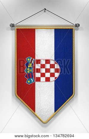 Pennant with Croatian flag. 3D illustration with highly detailed texture.