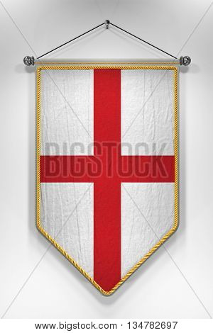 Pennant with English flag. 3D illustration with highly detailed texture.