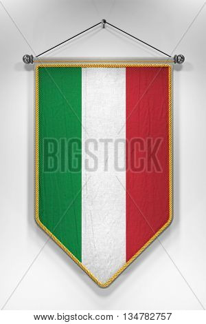 Pennant with Italian flag. 3D illustration with highly detailed texture.