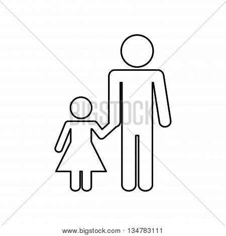 Pictogram of Family design about father and daughter  illustration, flat and isolted design