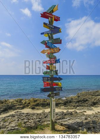 Signpost pointing at different cities in the world