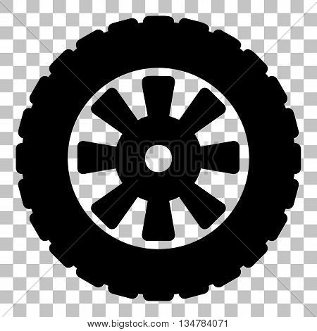 Road tire sign. Flat style black icon on transparent background.