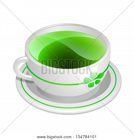 Glass Cup With Green Tea Isolated On White Background. Transparent Cup Of Green Tea And A Sprig Of G