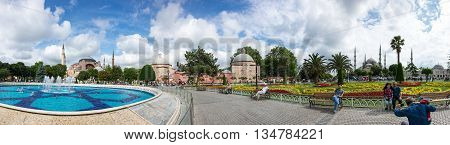 ISTANBUL TURKEY - JUNE 19 2015: Hagia Sophia and Sultan Ahmet Mosque are the most visited places in Istanbul Turkey
