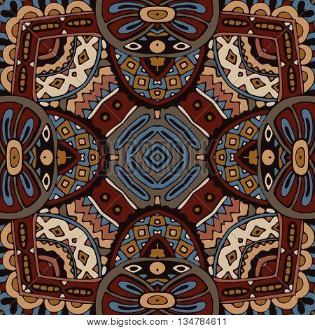 Abstract vintage ethnic geometric mosaic seamless pattern. Mosaic tiles ornamental